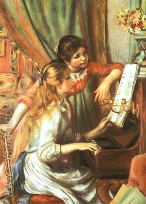 Two Girls at the Piano 1892 - Pierre Auguste Renoir reproduction oil painting