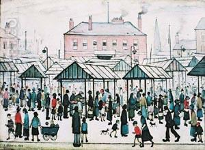 Market Scene, Northern Town 1939 - L-S-Lowry reproduction oil painting
