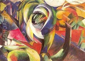 Der Mandrill 1913 - Franz Marc reproduction oil painting