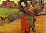 Breton Peasant Women Paysanes Bretonnes - Paul Gauguin reproduction oil painting