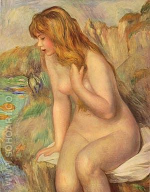 Bather on a Rock 1892 - Pierre Auguste Renoir reproduction oil painting
