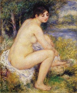 Nude Amid Landscape 1883 - Pierre Auguste Renoir reproduction oil painting