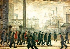 Returning from work 1929 - L-S-Lowry reproduction oil painting
