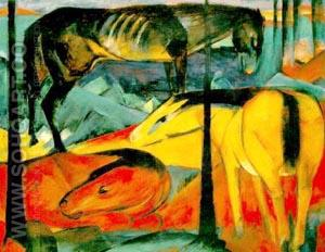 The Three Horses 1912 - Franz Marc reproduction oil painting