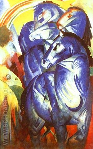 Tower of Blue Horses 1913 (Turm der Blauen Pferde) - Franz Marc reproduction oil painting