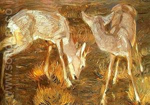 Deer at Dusk - Franz Marc reproduction oil painting