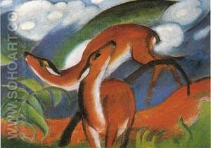 Red Deer II 1912 - Franz Marc reproduction oil painting