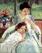 Young Mother Sewing circa 1900 - Mary Cassatt reproduction oil painting