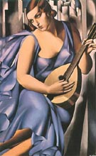 Woman In Blue With Mandolin 1929 - Tamara de Lempicka reproduction oil painting
