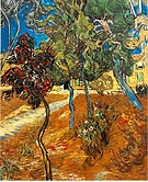 Trees in the Asylum Garden 1889 - Vincent van Gogh reproduction oil painting