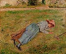 Resting, Peasant Girl Lying on the Grass, Pontoise 1882 - Camille Pissarro reproduction oil painting