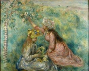 Girls Picking Flowers in a Meadow c1890 - Pierre Auguste Renoir reproduction oil painting