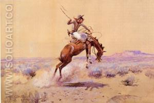 Bad One 1912 - Charles M Russell reproduction oil painting