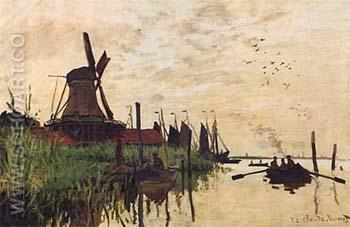 Windmill at Zaandam 1871 - Claude Monet reproduction oil painting