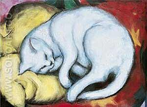 Cat on a Yellow Pillow - Franz Marc reproduction oil painting
