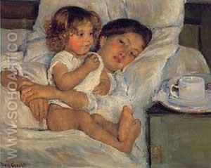 Breakfast in Bed - Mary Cassatt reproduction oil painting