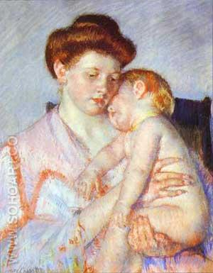 Sleepy Baby - Mary Cassatt reproduction oil painting