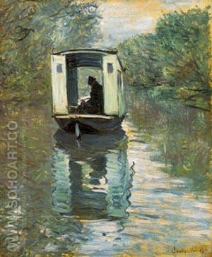 Le Bateau Atelier - Claude Monet reproduction oil painting