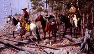 Prospecting for Cattle Range 1889 - Frederic Remington reproduction oil painting