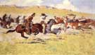 The Fight for the Stolen Herd - Frederic Remington reproduction oil painting