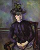 Portrait of a Woman in Green Hat - Paul Cezanne reproduction oil painting