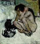 Crazy Woman with Cats 1901 - Pablo Picasso reproduction oil painting