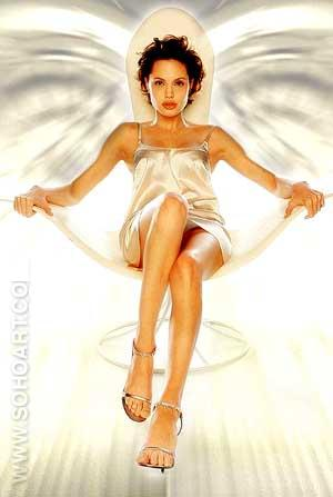 Angelina Jolie White Satin - Female Movie Stars reproduction oil painting