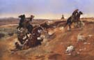 Cowpunching Sometimes Spells Trouble 1889 - Charles M Russell reproduction oil painting
