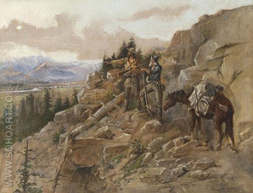 Trouble on the Hoirzon 1893 - Charles M Russell reproduction oil painting