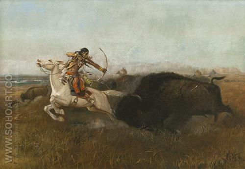 Indians Hunting Buffalo 1894 - Charles M Russell reproduction oil painting