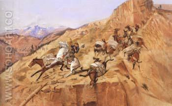 Attack on the Mule Train 1891 - Charles M Russell reproduction oil painting