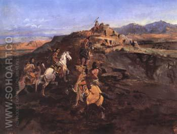 Sighting the Herd 1896 - Charles M Russell reproduction oil painting