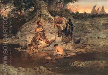 Three Generations 1897 - Charles M Russell reproduction oil painting