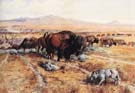Guardian of the Herd 1899 - Charles M Russell reproduction oil painting