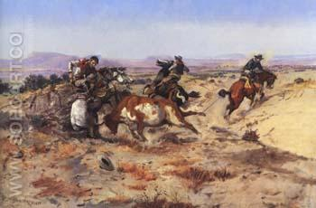 When Cowboys Get in Trouble [The Mad Cow] 1899 - Charles M Russell reproduction oil painting