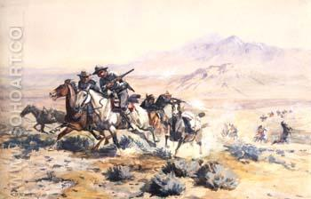 ON THE ATTACK - Charles M Russell reproduction oil painting