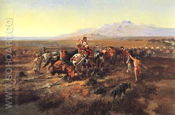 Returning to Camp 1901 - Charles M Russell reproduction oil painting