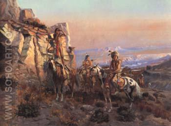 Trouble Hunters 1902 - Charles M Russell reproduction oil painting