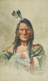 Indian Head 1904 - Charles M Russell reproduction oil painting