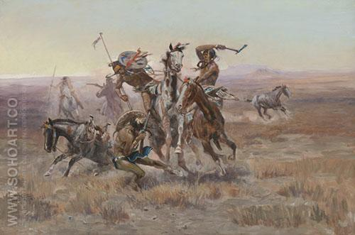 When Blackfeet and Meet 1908 - Charles M Russell reproduction oil painting
