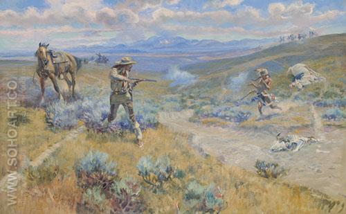 Buffalo Bill's Duel with Yellohand 1917 - Charles M Russell reproduction oil painting