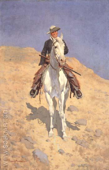 Self-Portrait on a Horse 1890 - Frederic Remington reproduction oil painting