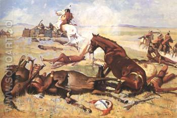 He Rushed the Pny Right to the Barricade 1900 - Frederic Remington reproduction oil painting