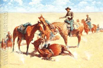 Among the Led Horses 1909 - Frederic Remington reproduction oil painting