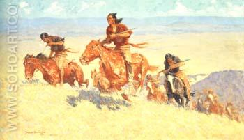Buffalo Runners-Big Horm Basin 1909 - Frederic Remington reproduction oil painting