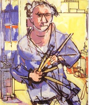 Self-Portrait with Brushes, 1942 - Hans Hofmann reproduction oil painting