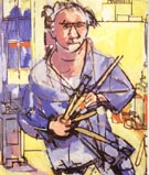 Self-Portrait with Brushes, 1942 - Hans Hofmann
