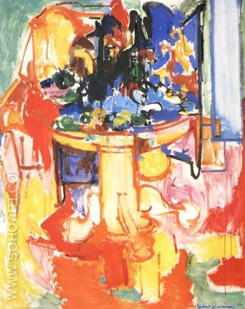 Table with Fruit and Coffeepot, 1936 - Hans Hofmann reproduction oil painting