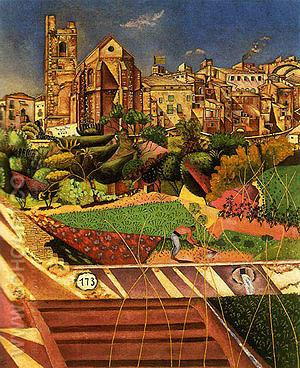 Mont-roig the Church and the Village 1919 - Joan Miro reproduction oil painting