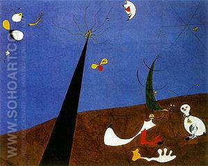 Dialogue of Insects 1924-25 - Joan Miro reproduction oil painting